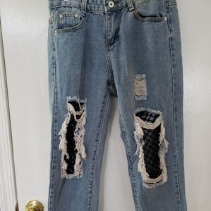 NWOT Distressed crop Jean's with fishnet knees